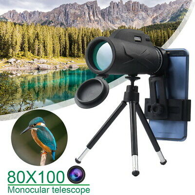 High Power 80x100 HD Monocular Telescope Night Vision BAK4 Prism Wildlife Watch • 16.89£