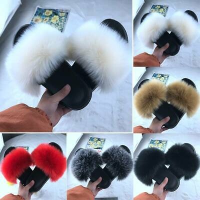 $21.84 • Buy Womens Flat Shoes Fluffy Fur Sandals Shoes Sliders Slippers Summer Casual Shoes