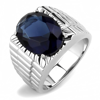 £14.99 • Buy Mens Sapphire Ring Signet Pinky Silver Blue Oval Stainless Steel Cz 11 Carat 364