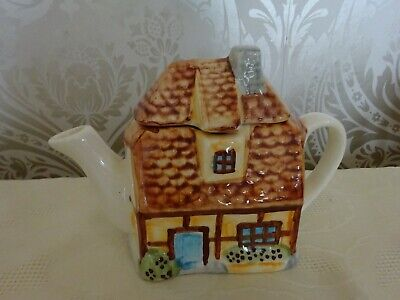Novelty Teapot Ceramic Country Cottage Small Teapot 13cm Tallest • 6.50£
