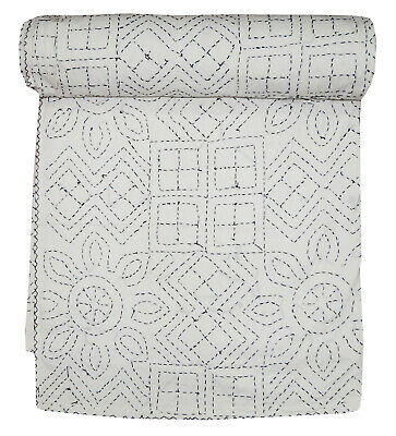 White Embroidery Kantha Quilt Handmade Cotton Bedding Bedspread Indian Blanket • 44.99£