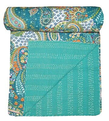 Kantha Quilt Indian Green Paisley Bedding Blanket Handmade King Size Throw • 38.55£