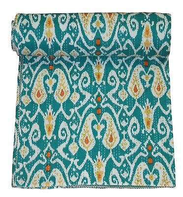 Indian Kantha King Size Quilt Green Paisley Reversible Bedspread Blanket Throw • 38.55£