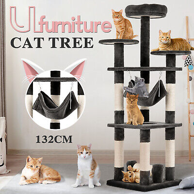 AU99.90 • Buy 132CM Cat Tree Scratching Post Scratcher Tower Condo Toy House Furniture Wood