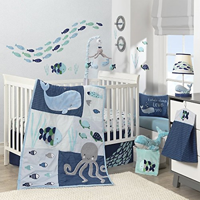 $183.90 • Buy Lambs & Ivy Oceania 6-Piece Baby Crib Bedding Set - Blue Ocean Whale & Octopus