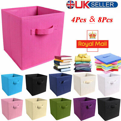 £4.96 • Buy Foldable Square Canvas Storage Collapsible Folding Box Fabric Cubes Toys Basket