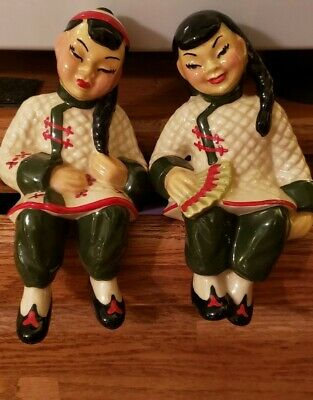 $16 • Buy Vintage Ceramic Arts Studio Chinese Girl & Boy Shelf Sitters Ethnic Collectibles