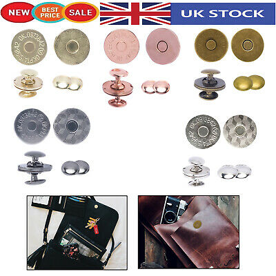 Round Magnetic Snap Clasp Fasteners Double Rivet Closures Crafting Projects Bags • 2.59£