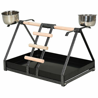 PawHut Bird PlayStand W/ Wood Perch Ladder Feeding Cups For Macaw Parrot Conure • 22.99£