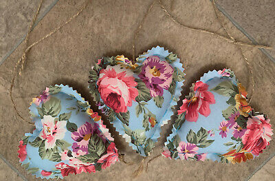 Handmade Set Of 3 Shabby Chic Hanging Love Hearts Padded Heart Floral Chintzy • 3.99£