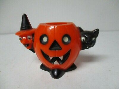 $ CDN54.13 • Buy Vintage Halloween Plastic - JOL Witch Cat Candy Holder W Black White Features