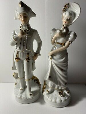 """$ CDN30.32 • Buy Gold And White Porcelain Figurines  Victorian Couple 8.5"""" Tall: Made In Korea"""
