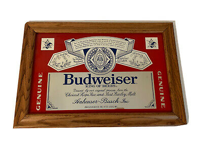 $ CDN33.60 • Buy Vintage Budweiser King Of Beers Sign Mirror 18 X 12.5 Wood Frame