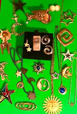 $ CDN74.84 • Buy  Vintage Moon Star Sun Brooch Lot Sterling RL GAP Liz Claiborne Monet AVON
