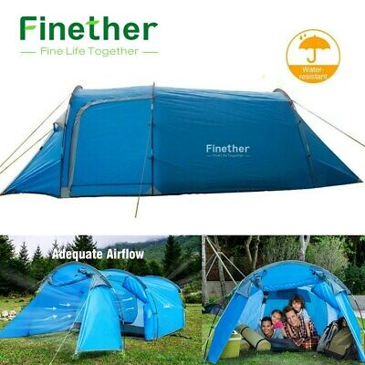 3-4 Man Tunnel Tent Waterproof Family Group Outdoor Camping Hiking W/ Carry Bag • 33.99£