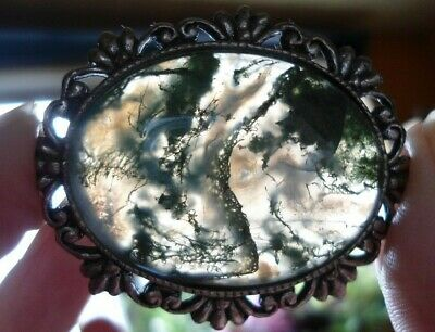£22.47 • Buy Very Large, Vintage Moss Agate Cabochon In Costume Jewellery Mount Ag12