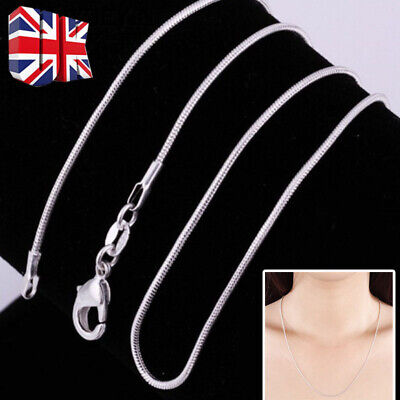 2MM 925 SOLID STERLING SILVER SNAKE CHAIN NECKLACE ALL INCH SIZES 16  18  20 New • 4.54£