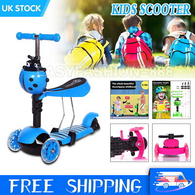 3in1 Kids Scooter 3 Wheel Toddler Kick Scooter Light Up Adjust Seat Child Toy UK • 21.79£