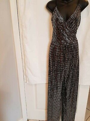 Bnwt Lipsy  Black & Silver Sequin Cami Top Wide Leg Jumpsuit Size Uk 16 • 24.99£