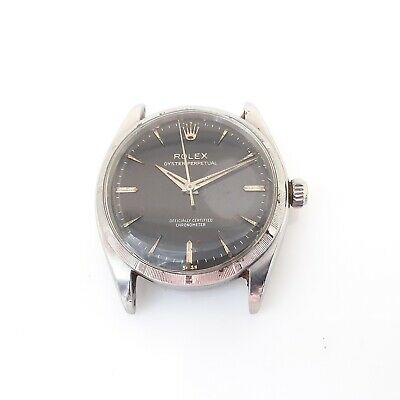 $ CDN6779.41 • Buy Rolex No Date 34mm Vintage Gilt Dial Head Only Steel Black Watch 6565 Circa 1959