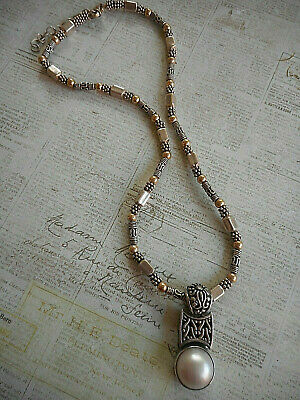 $149 • Buy Oxidized Sterling Silver Bali Style Mabe Pearl Pendant Necklace   4171C