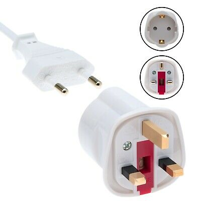 Schuko Plug Socket EU European Euro Adaptor 2 Pin To UK 3 Pin Travel Adapter  • 4.69£