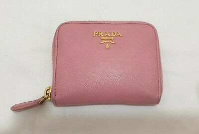 Authentic Pink Gold PRADA Small Zip Coin Card Purse Wallet Bag Leather  • 69.99£