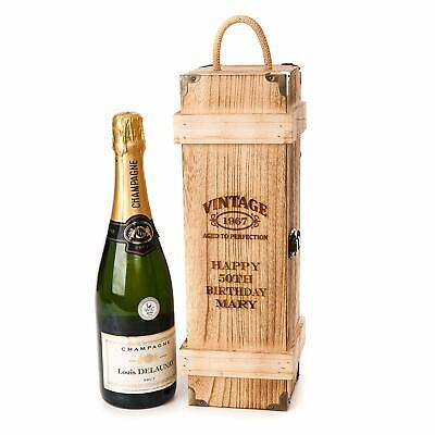 Personalised Engraved Wooden Vintage Chest Wine Gift Box Birthday Champagne Year • 12.95£