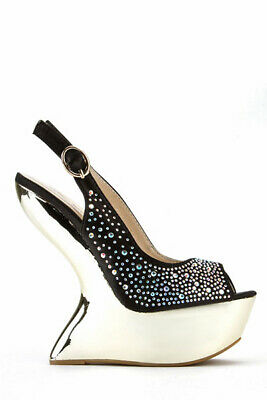 Diamante Curve Wedge Sandal Via Giulia High Heel Shoes Size 3 Silver Black  • 15.99£