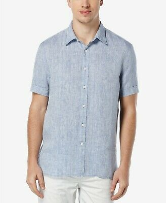 $10.99 • Buy Perry Ellis Men's Short Sleeve Solid Linen Shirt NWT (Variety Of Colors & Sizes)
