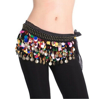 £7.95 • Buy Chiffon Paillette Belly Dance Hip Scarf With Coins & Beads Belt Wrap For Dancing