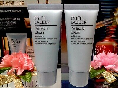 25%OF Estee Lauder Perfectly Clean Multi-Action Foam Cleanser Purify Mask 30MLX2 • 8.90£