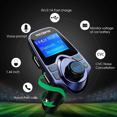 Victsing Bluetooth FM Transmitter Wireless Radio Adapter Car Kit USB Car Charger • 14.99£