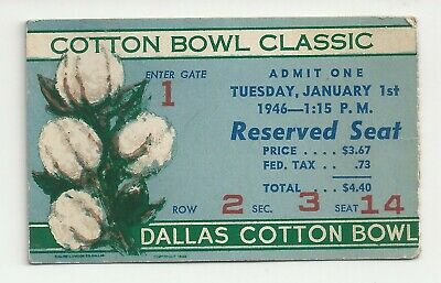 $47.99 • Buy 1946 Texas Vs Missouri Cotton Bowl Original College Football Ticket Stub