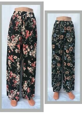 Ladies Women's Floral Harem Pleated Wide Leg Chiffon Trousers Skirt Look Holiday • 7.98£