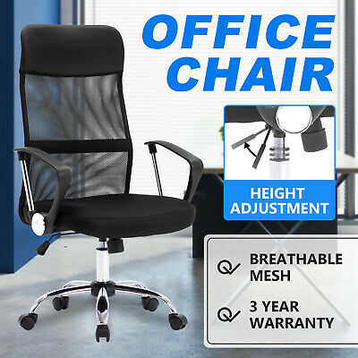 AU94.90 • Buy Executive Office Chair PU Leather Mesh Racer Computer Gaming Chair Seating Black