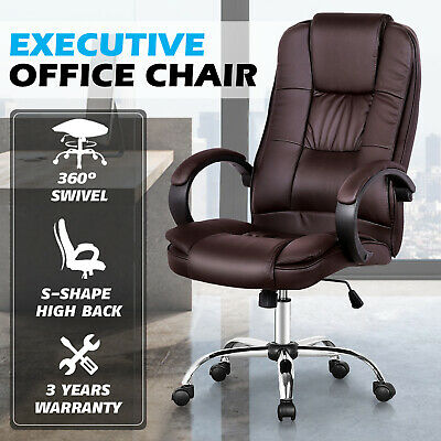 AU119.90 • Buy High Back Executive Office Chair Computer Gaming PU Leather Mesh Chairs Black