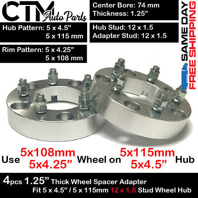 $ CDN104.19 • Buy 4PC 1.25  THICK 5x4.5 To 5x4.25 | 5x115 To 5x108 WHEEL ADAPTER FIT LOTUS EVORA