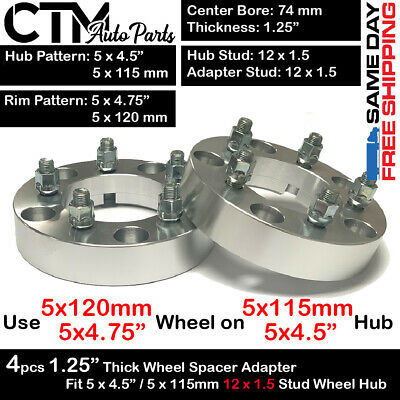 $ CDN104.19 • Buy 4PC 1.25  THICK 5x4.5 To 5x4.75 | 5x115 To 5x120 WHEEL ADAPTER FIT LOTUS EVORA