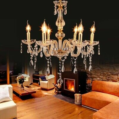 £57.89 • Buy Samger 6 Arm K5 Crystal&Glass Chandeliers Ceiling Light Pendant Lamp Gold Clear