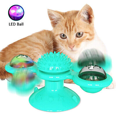 AU15.65 • Buy AU Windmill Cat Toy Kitty Turntable Interactive Toy Scratch Hair Tickle Brush