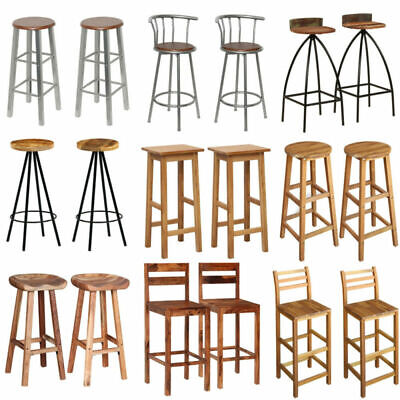 2 Pcs Bar Stools Steel/Wooden High Legs Breakfast Kitchen Chairs Dinning Seat • 59£