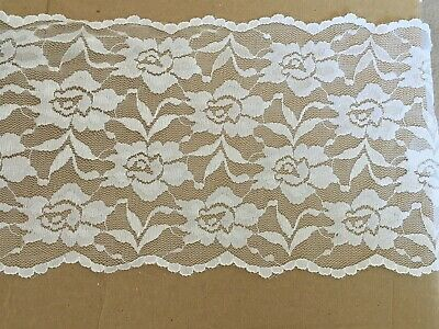 Brand New White Stretch Lace Trim Edging - 145mm Width - 1 Metre Length • 2.50£