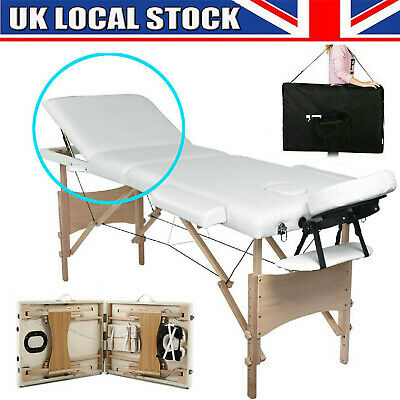 Beige Portable Folding Massage Table - Beauty Salon Tattoo Therapy Couch Bed • 63.90£