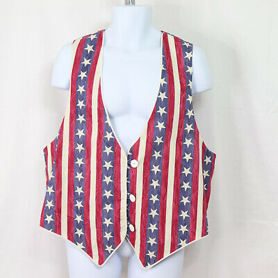 £19.70 • Buy American Flag Men's (Approx. Size L, See Meas.) Red White Blue 4th Of July Vest