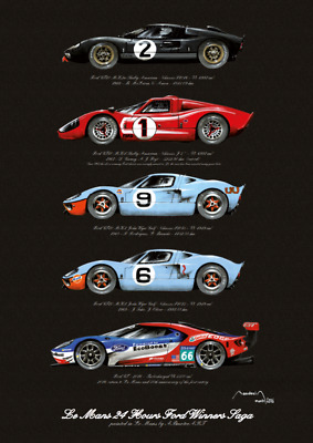 Le Mans 24 Hours Ford GT40 Winners Saga - High Quality Print - Limited Edition • 17.95£