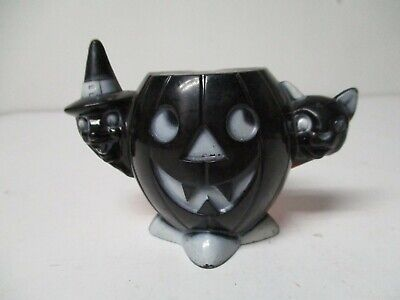 $ CDN64.96 • Buy Vintage Halloween Hard Plastic - JOL W Witch & Cat Candy Holder - Black Front