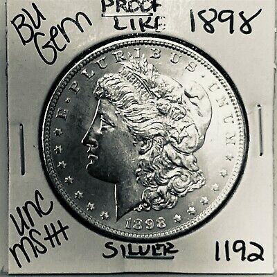 $34 • Buy 1898 Bu Gem Morgan Silver Dollar Unc Ms++ Genuine U.s. Mint Rare Coin 1192