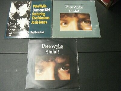 PETE WYLIE THE MIGHTY WAH 3 X 7  SINGLES In PICTURE SLEEVES Inc 2 X 2  X 7  • 1.75£