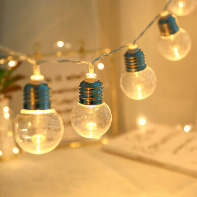 10 Clear LED Festoon G45 Bulb Ball Hanging Fairy String Light Hanging Home Party • 5.38£